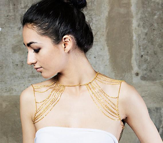 New Fashion Jewelry Gold Gun Black Tassel Sexy Body Shoulder Chain for Women jewelry 10pcs lot