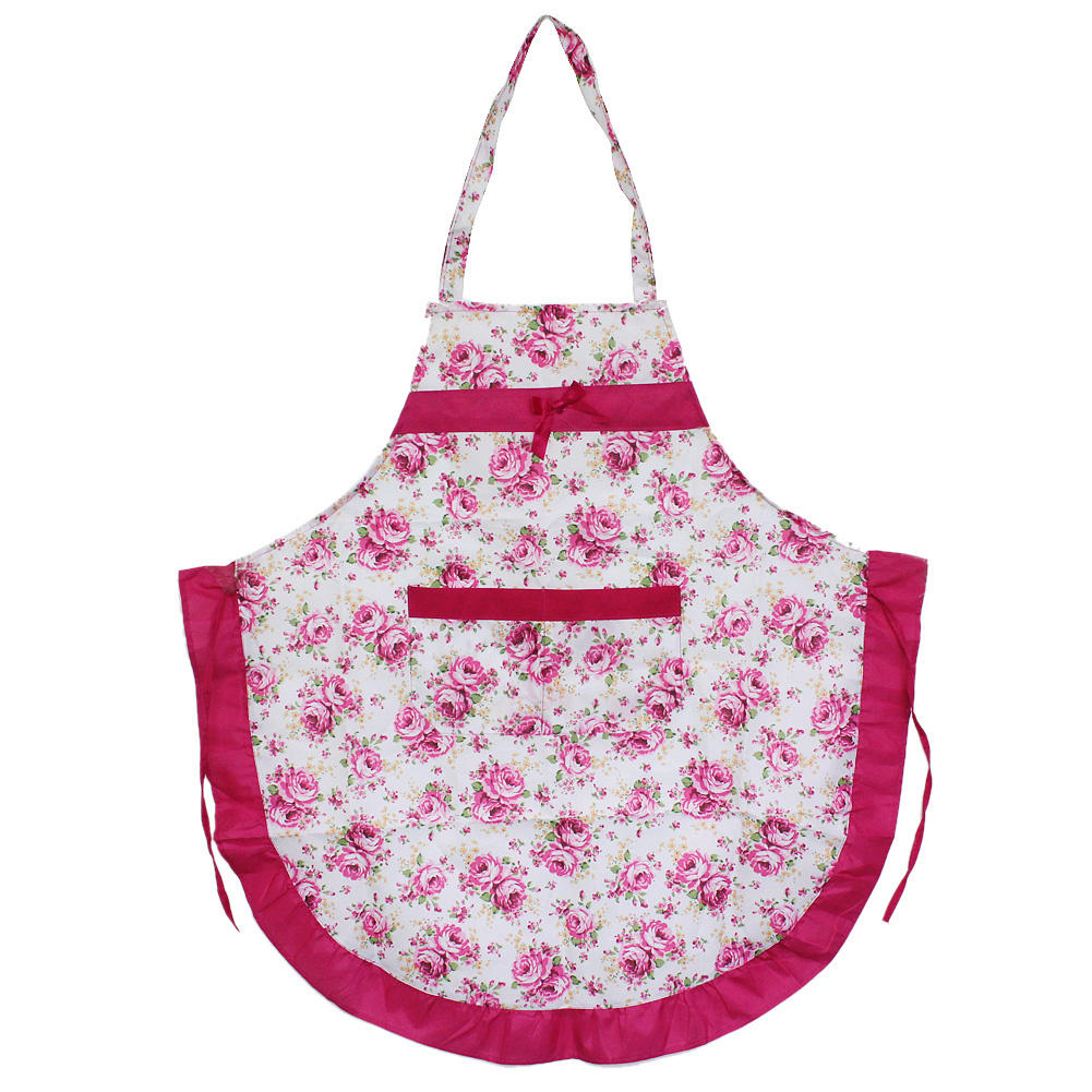 Women's Lady Home Kitchen Housework Cooking Cleaning Rose Flower Pocket Apron(China (Mainland))