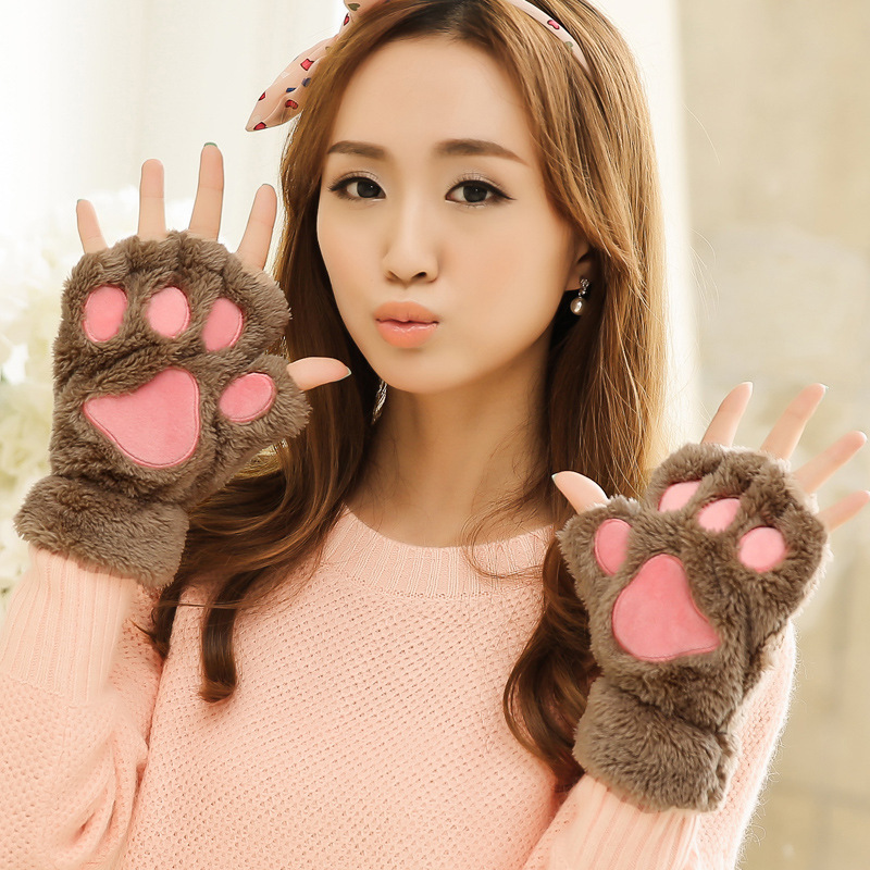 2016 New Fashion Women Gloves Cute Style 4 Colors Gloves Fluffy Bear Paw/Animal Gloves Paw Claw Fingerless Cute Gloves Mittens(China (Mainland))