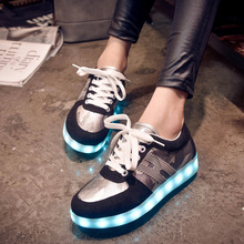 2015 Brand Women Colorful Glowing Shoes With Lights Up Led Luminous Shoes Men New Simulation Sole Led Shoes For Basket Led Girl