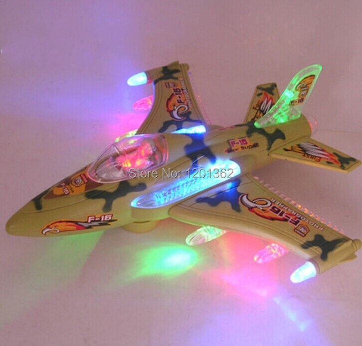 O Bump & Go Fighter Jets Aircraft  Music Light Flashing Battery Operated Kids Baby Favorite Toy (China (Mainland))