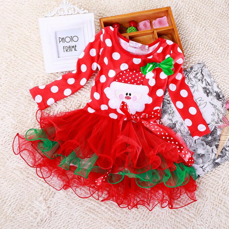 Retail Children Christmas Clothing Baby Boys and Girls Christmas Dress Xmas Dress Santa Claus Costumes Baby Girl's Dress(China (Mainland))