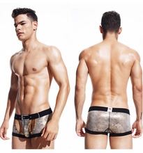 Free shipping!brand XUBA sexy gay underwear new comfortable Metal rivet boxer shorts U convex boxers sexy pants