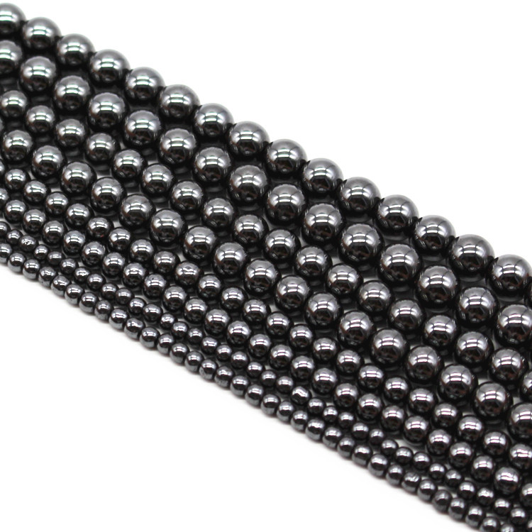 Top quality Natural Stone Black Hematite beads Round Loose bead Stone ball Selectable 4/6/8/10MM For Jewelry bracelet Making(China (Mainland))