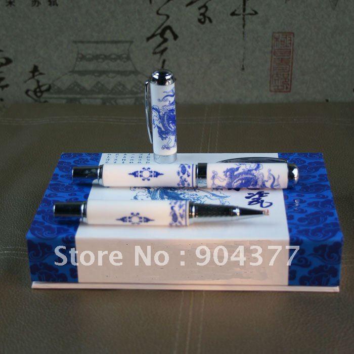 Здесь можно купить  Free shipping High Quality Dragon Ceramic White Gel Ink Pens  with Hardcover box 5set/lot  Офисные и Школьные принадлежности