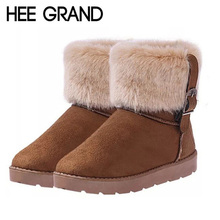 HEE GRAND Women Boots Warm Fur Cotton Winter Shoes High Quality Cozy Women's Soft Ankle Snow Boots Flat Shoes Woman XWX378(China (Mainland))