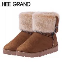 HEE GRAN Mujer Botas Zapatos de Algodón de Invierno de Piel Caliente de Alta calidad de Las Mujeres Cozy Suave Botas de Nieve Del Tobillo Zapatos Planos de La Mujer XWX378(China (Mainland))