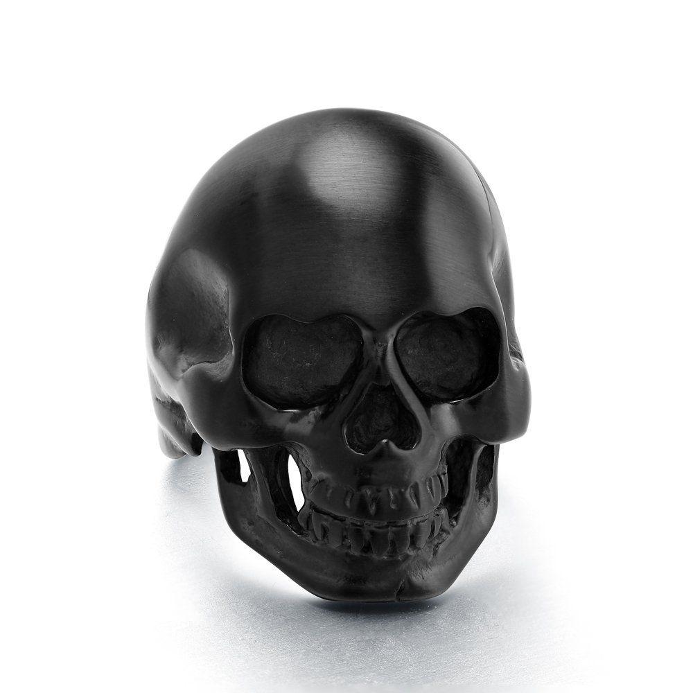 2016 Men Women 316L Stainless Steel Black Tone Cool Skull Head Skeleton Ring New Jewelry Rings(China (Mainland))