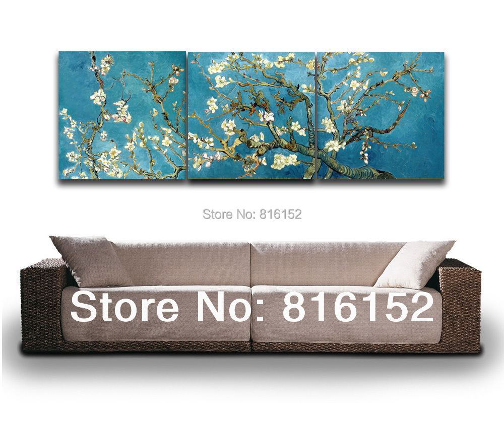 3 Panels Set Blossoming Almond Tree By Van Gogh Wall Art Oil Painting Office Decoration Canvas Painting(China (Mainland))