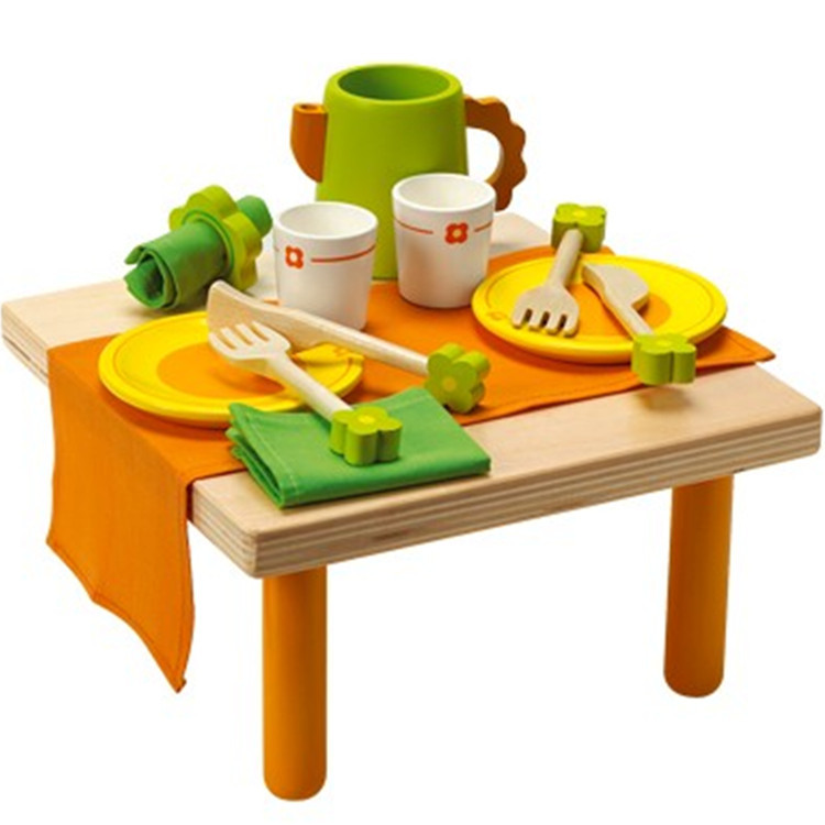 Baby Toys Child Wooden Tableware Tea Set Kitchen Toy Pretend Play Small Table Food Wooden Toys Child Educational Birthday Gift(China (Mainland))