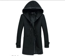 2016 new arrival Men's Slim thick woolen coat  hooded horn button fashion casual high quality winter plus size M L XL 2XL 3XL(China (Mainland))