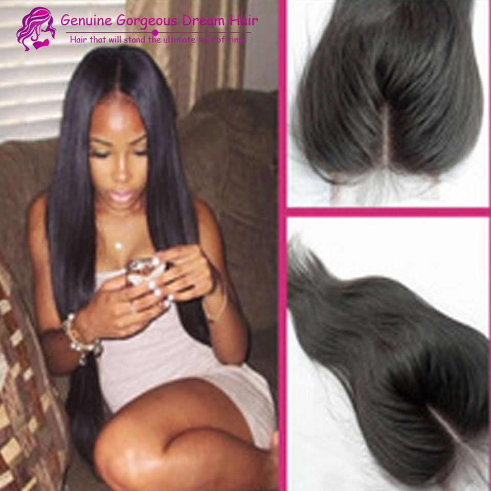 6A Peruvian Virgin Straight human Hair Free or Middle or three part lace closure bleached knots 3.5*4 inch natural black-color<br><br>Aliexpress