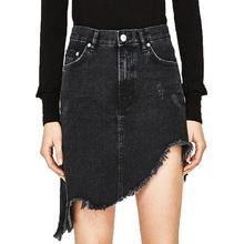 Buy 2017 summer casual mini skirt frazzle black denim skirt jean high waist skirt irregular womens clothing for $19.32 in AliExpress store