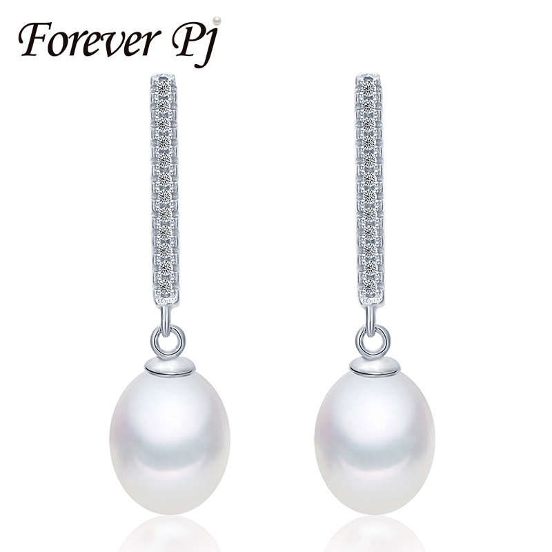 Forever Pearl Earrings Dangle, Pearl Dangle Earrings Sterling Silver For Women, White,Pink,Purple Pearl 8mm-9mm With Jewelry Box(China (Mainland))