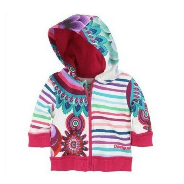 Новый Ребенок с капюшоном пальто Девушки павлин печати куртка принцесса полосы Толстовка пальто Кофты детские пальто Оптом