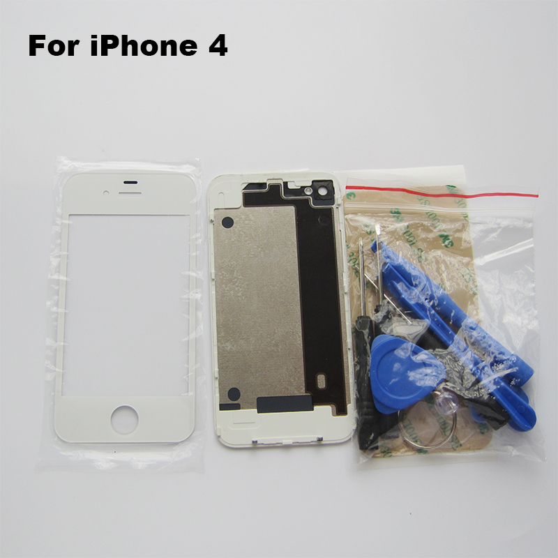 White High Quality Compatible Back Glass Rear Door Battery Replace Cover For iPhone 4 4G with Front Glass & Adhesive & Tools(China (Mainland))