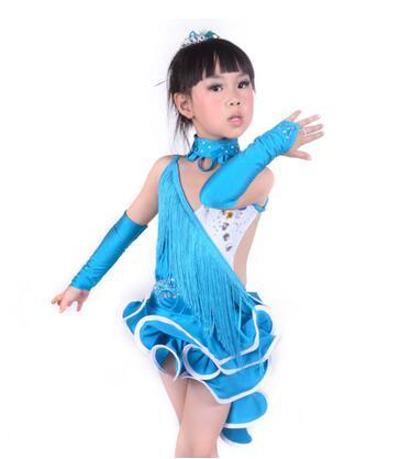 Quality neagle Latin dance performance wear female child tassel Latin dance costume competition clothing latin fringe dress(China (Mainland))