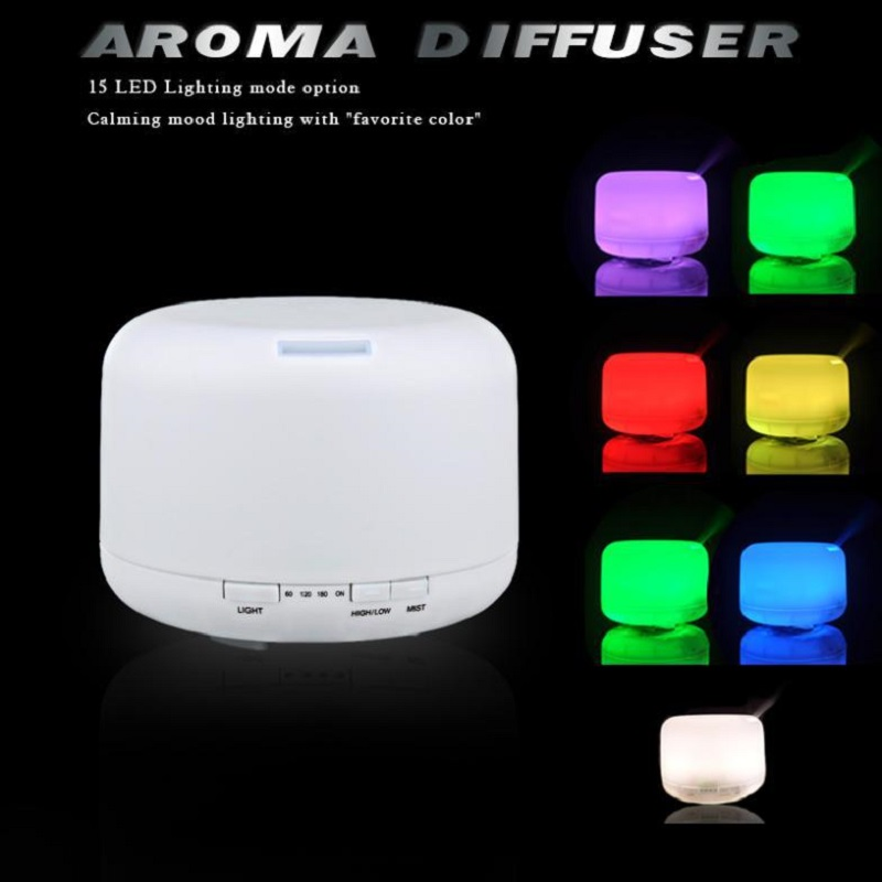 500ml 15 Colors Changable LED Light Essential Oil Aroma Diffuser Ultrasonic Air Humidifier Mist Maker for Home& Bedroom 110-240V(China (Mainland))