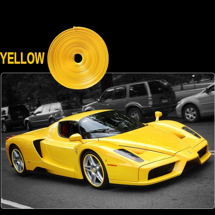 8 meters/roll Red Blue Yellow Car Wheel hub adornment Article Wheel Rim Protector Rings Car Wheel Hub Tire Rims Universal(China (Mainland))