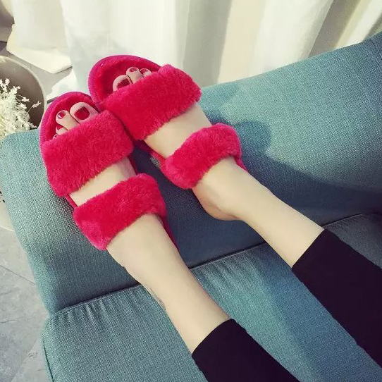 Гаджет  Woman  Indoor House Shoes Winter Footwear  Candy Colors Flush Slide Luxury Slippers Rubber Sole EU Size 35-39 US 5-8.5 None Обувь