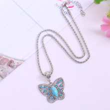 2015 summer style pendants necklace Fashion Butterfly Turquoise Necklaces Jewelry Vintage Tibetan Silver Pendants
