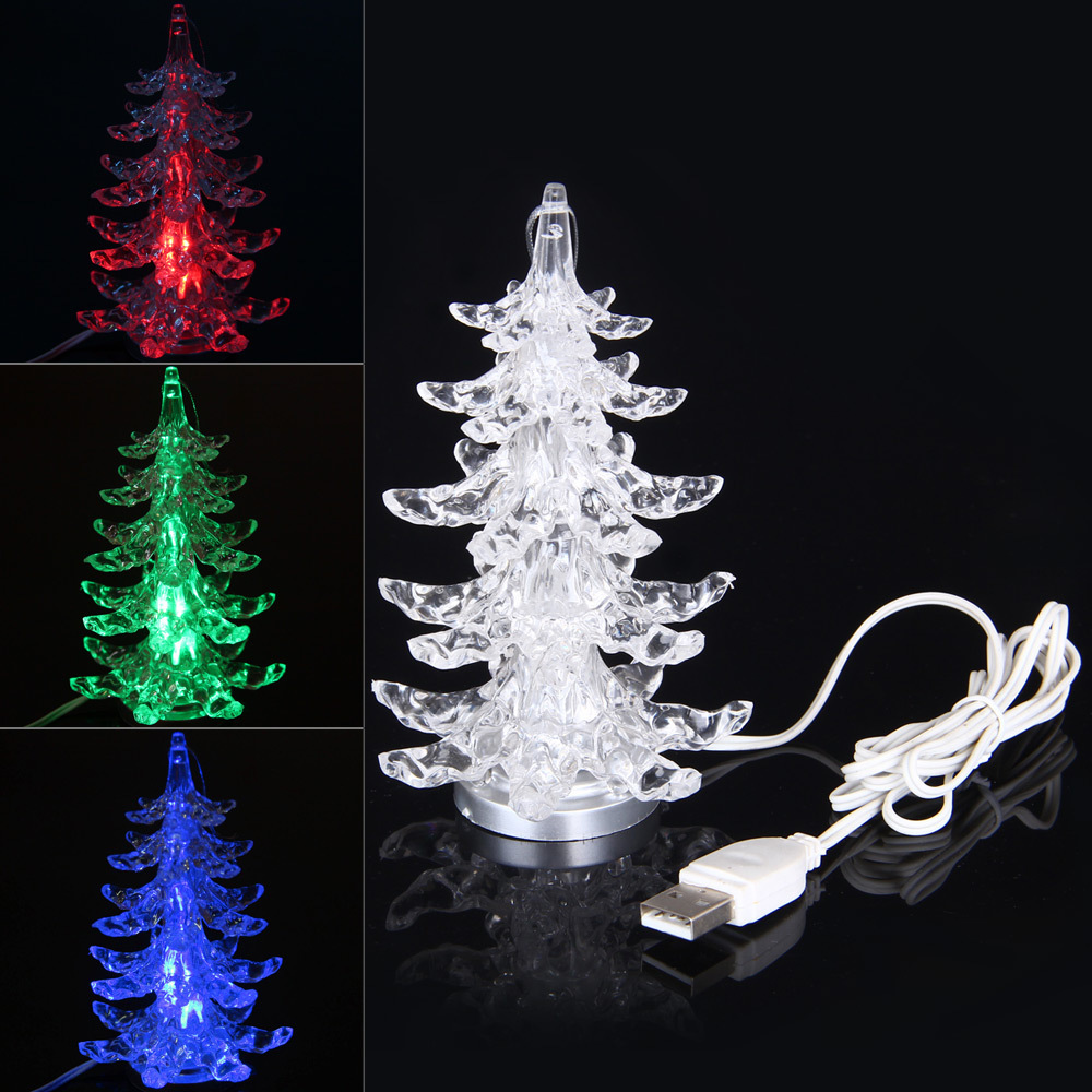 USB light 111-140cm Christmas Ornament Christmas Tree Colorful Changing LED Desk Decor Table Lamp Light Happy New Year Gift(China (Mainland))