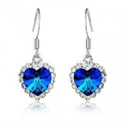 Top Quality Fashion Luxury Silver Plated Crystal Heart of Ocean Drop Earrings Wedding Bridal Accessories Jewelry For Women(China (Mainland))