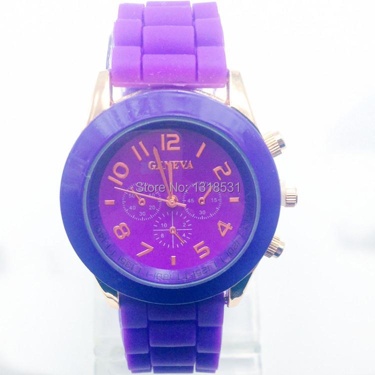 18 colors geneva silicone strap chronograph quartz watch for Nice watch for boyfriend