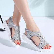PINSEN Frauen Sandalen 2019 Neue Weibliche Schuhe Frau Sommer Keil Bequeme Sandalen Damen Slip-on Flache Sandalen Frauen Alias(China)