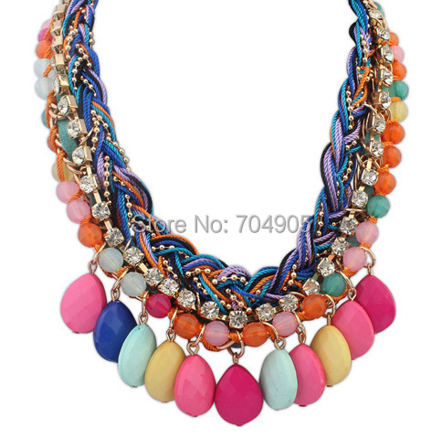 2014 New 5 Corlos High Quality Jewelry Fashion Bohemia Flower Crystal Statement Collar Necklace Necklaces Pendants