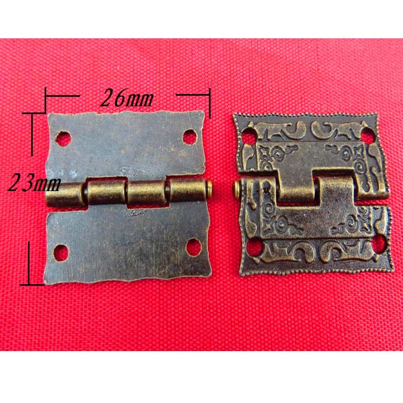 Top Fasion New Arrival Fast shipping 1 Inch Antique Wooden Gift Box Hinge Printing Packaging Zinc Alloy 26 * 23mm(China (Mainland))