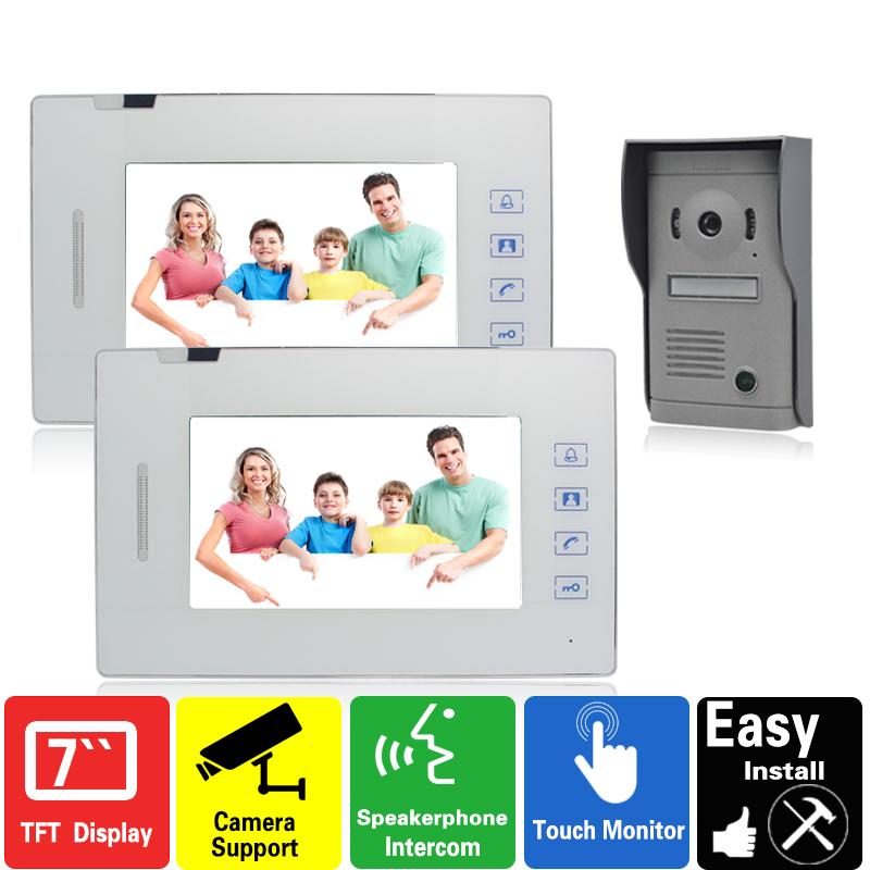 Luxury 7 inch touch key video door phone intercom system 1 camera 2 monitors doorphone rain cover doorbell hands-free(China (Mainland))