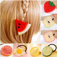 2016 Creative Girls Hair accessories Fruit Hair Clip for women Girls Hairpins Headdress Barrette Hair ring 1 pack of two(China (Mainland))
