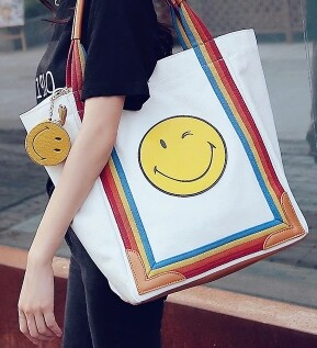 2016 new fashion designer women smile BAG canvas bag shoulder bag shopping bag with large capacity(China (Mainland))