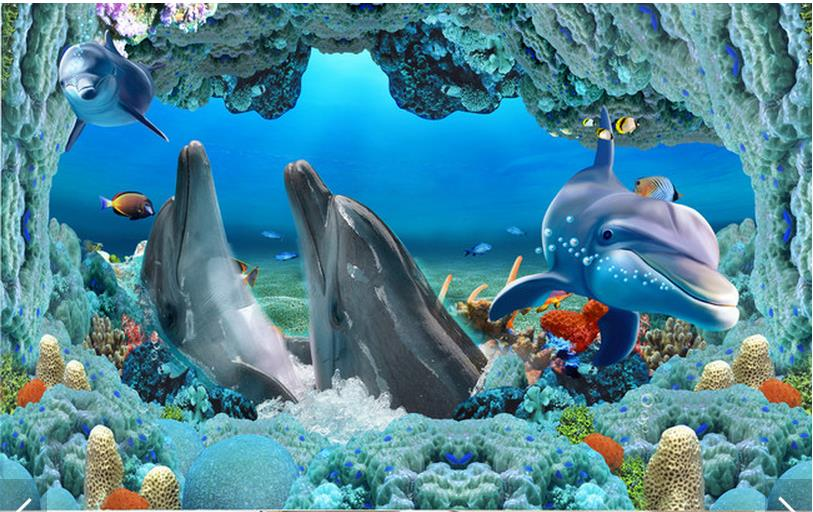 Dolphin Wallpaper For Walls : floor painting wallpaper Dolphins underwater 3 d floor painting wall ...