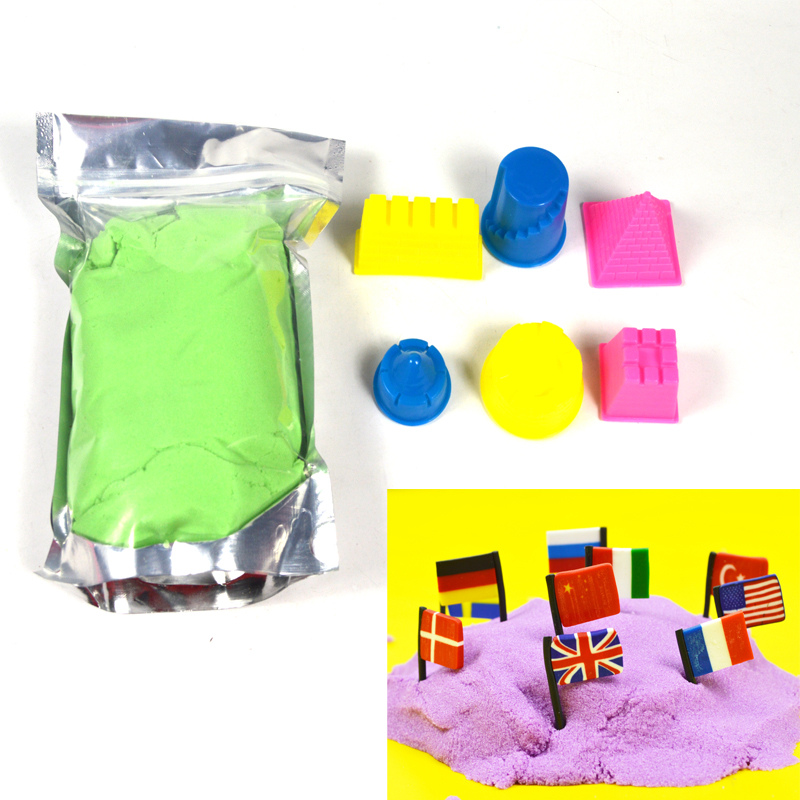 500g colorful pink green no-toxic smart play sand with 6pcs/set castle sand moulds(China (Mainland))