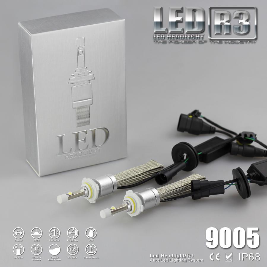 Runstreet(TM) Super Bright R3 9600lm 9005 HB3 White 6000K Auto Car LED Headlight Conversion Kit Fog Lamp Cree XHP-50 4800lm Bulb(China (Mainland))