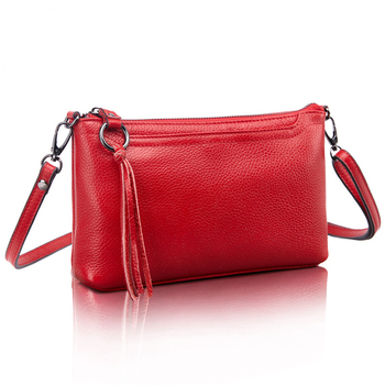 Cowhide Genuine Leather Women Messenger Bags with Tassel Decoration Crossbody Bag Fashion Shoulder Bags for women Clutch HB-415