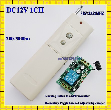 3000m Long Range Remote Control Switch DC 12V 1 CH 10A Relay Receiver Transmitter Learning Light Lamp Wireless Switch 315/433(China (Mainland))