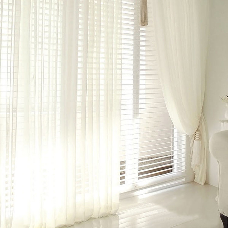 modern solid colors tulle window curtains for living room
