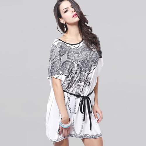 Summer Style New 2014 Bohemian Vintage Royal Flowers Print Dress Silk Cotton Batwing Sleeve Women Causal Dress Plus Size 4 Color(China (Mainland))