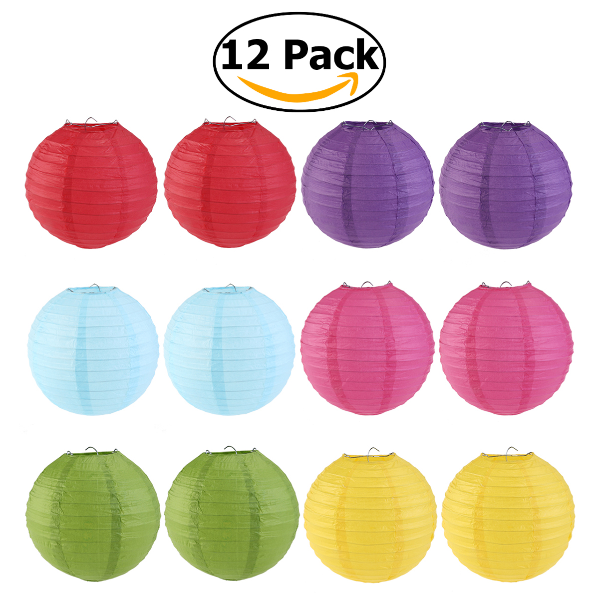 WINOMO 12pcs 6 Colors 25cm Round Paper Lanterns with Wire Ribbing (Red+Light Green+Rose Red+Sky Blue+Dark Purple+Yellow)(China (Mainland))