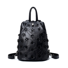 Buy 2017 Fashion Floral Women Backpack High Leather Female Back Pack Black Unique Student School Bag mochila feminina for $23.75 in AliExpress store