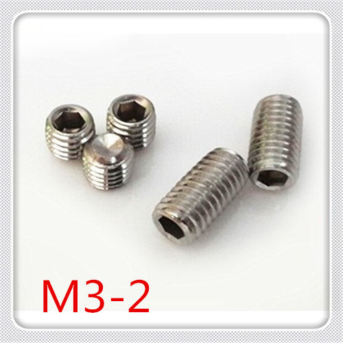 100pcs/lot High Quality DIN916 M3*2 Stainless Steel 304  Hex Socket  Set Screw With cup point(Grub Screw )<br><br>Aliexpress