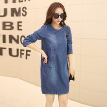 Spring jeans dress women large size Pull-over women loose long-sleeved demin dress female casual Above-knee jeans dress TT256