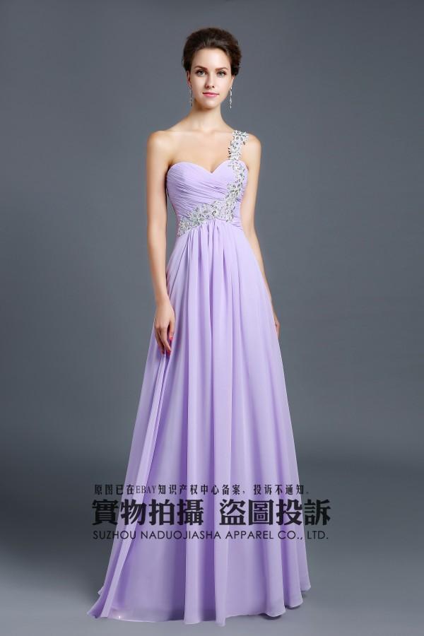 2015 Newest design lavender Lace rhinestone Length Chiffon Lovely Bridesmaid Dress Prom Dress In Stock Size(China (Mainland))