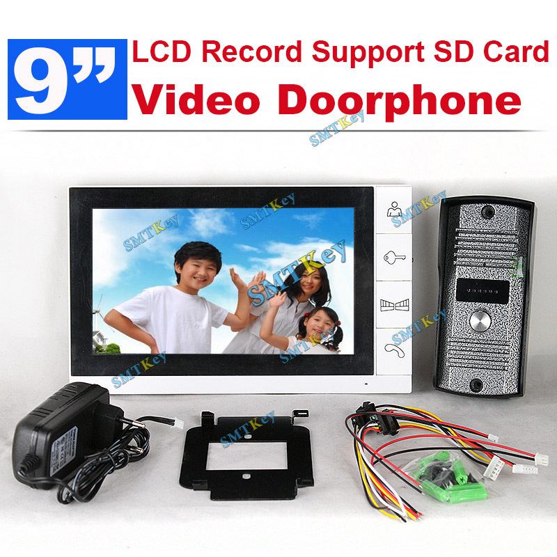 DP-998R 9 inch TFT Monitor LCD Color Video Record Door Phone DoorBell Intercom System with IR camera(China (Mainland))