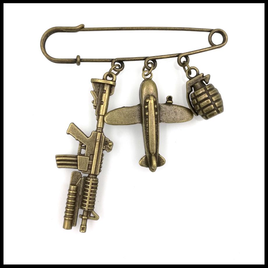 world war gun airplane peace bomb charm brooch safety pin font b kilt b font pin
