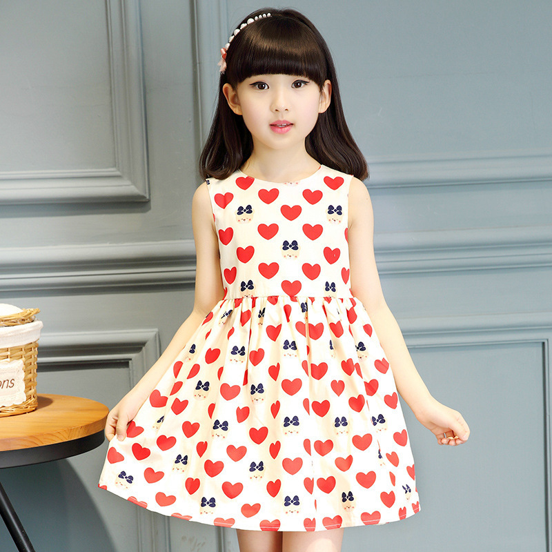 2016 Children Party Dress Girls Summer Dresses Kids Casual Pattern Fashion Teen Clothing Dresses 10 12 Years Old(China (Mainland))