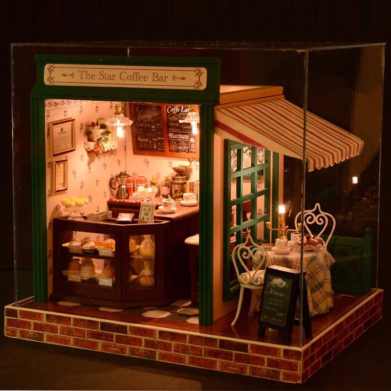 Diy Wooden Doll House With Furniture Led Kit Dollhouse Model Kit Star Cafe Coffee Bar Break Shop